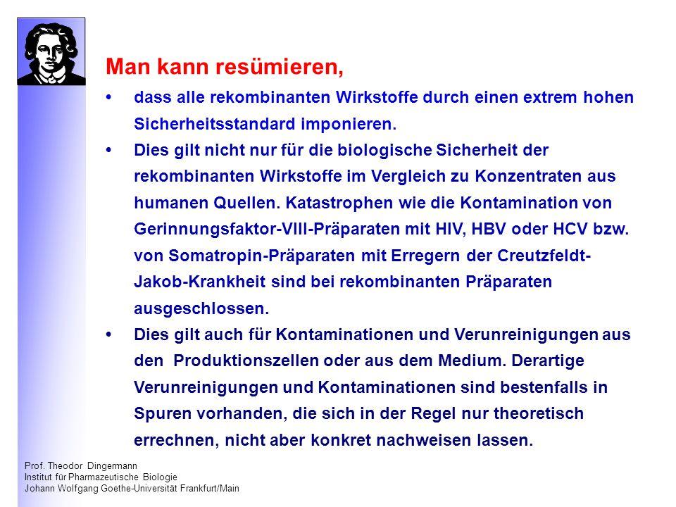 Prof. Theodor Dingermann Institut für Pharmazeutische Biologie Johann Wolfgang Goethe-Universität Frankfurt/Main Man kann resümieren, dass alle rekomb