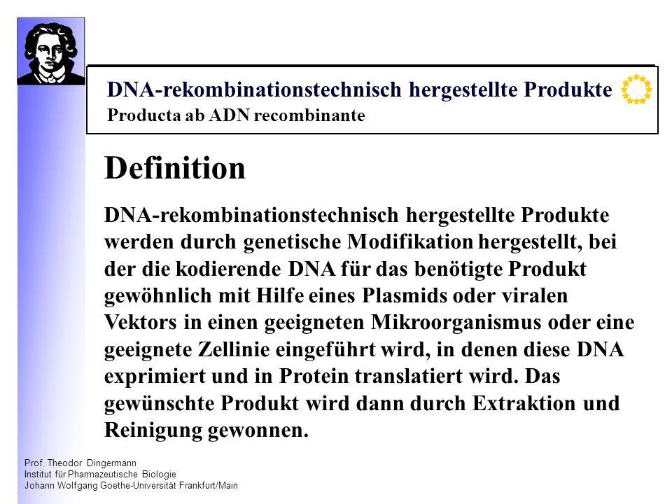 Prof. Theodor Dingermann Institut für Pharmazeutische Biologie Johann Wolfgang Goethe-Universität Frankfurt/Main Definition DNA-rekombinationstechnisc