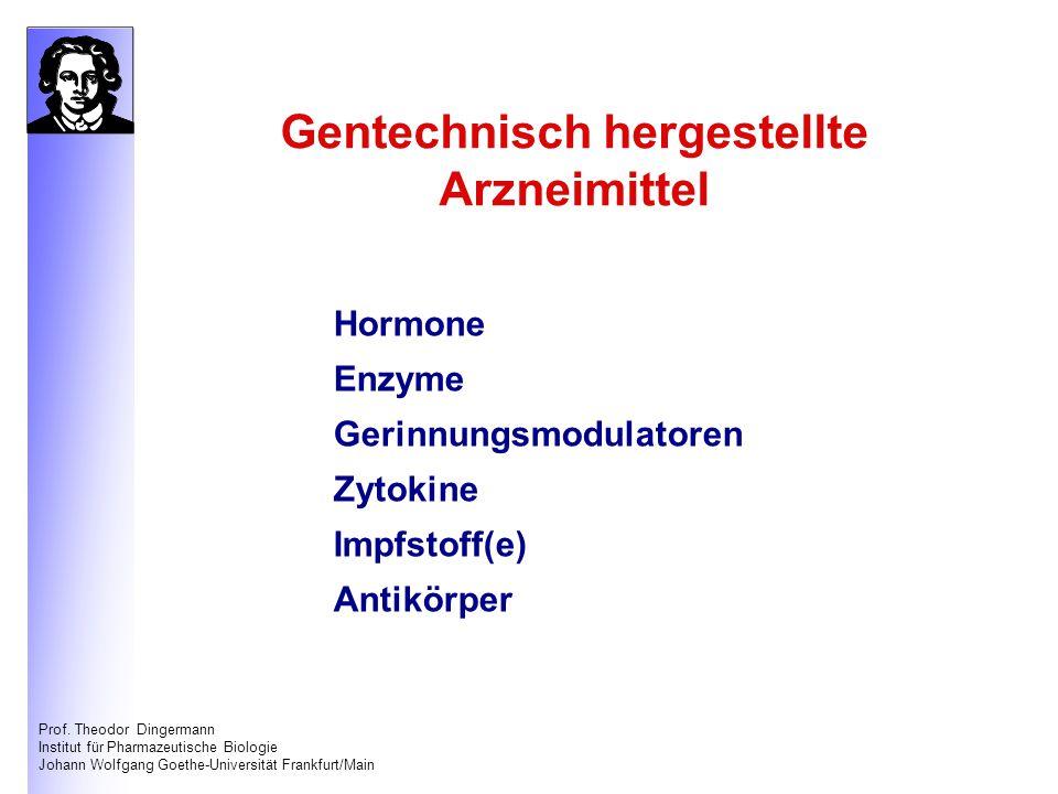 Prof. Theodor Dingermann Institut für Pharmazeutische Biologie Johann Wolfgang Goethe-Universität Frankfurt/Main Hormone Enzyme Gerinnungsmodulatoren