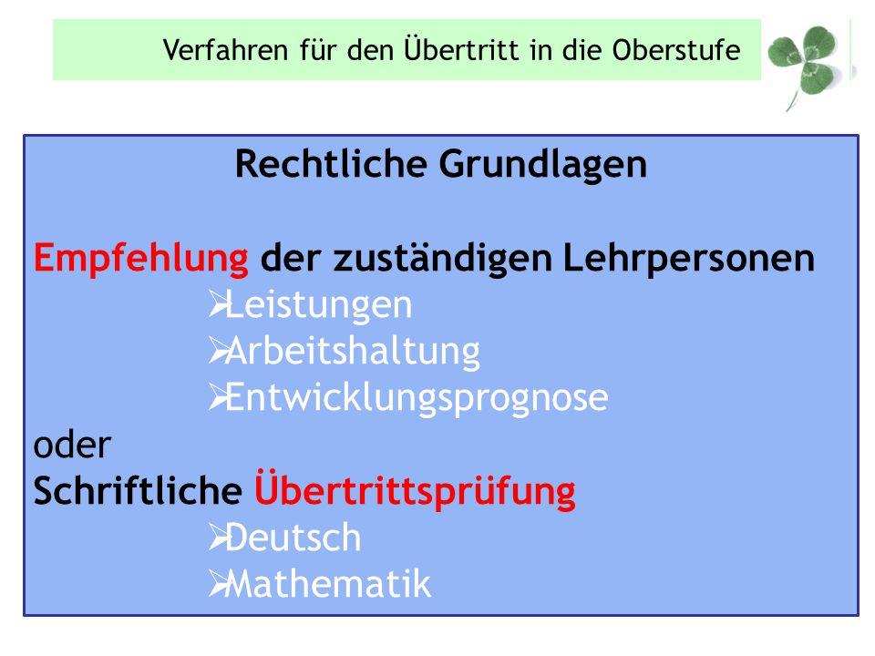 Rechtliche Grundlagen Empfehlung der zuständigen Lehrpersonen  Leistungen  Arbeitshaltung  Entwicklungsprognose oder Schriftliche Übertrittsprüfung