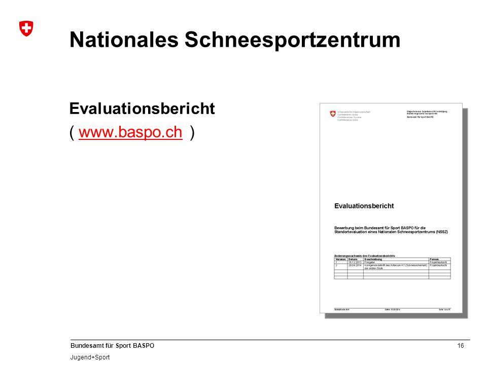 16 Bundesamt für Sport BASPO Jugend+Sport Nationales Schneesportzentrum Evaluationsbericht ( www.baspo.ch )www.baspo.ch