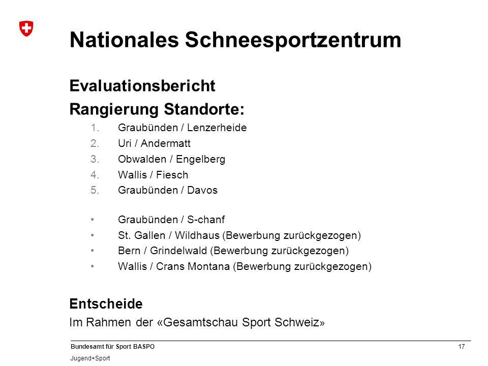 17 Bundesamt für Sport BASPO Jugend+Sport Nationales Schneesportzentrum Evaluationsbericht Rangierung Standorte: 1.Graubünden / Lenzerheide 2.Uri / Andermatt 3.Obwalden / Engelberg 4.Wallis / Fiesch 5.Graubünden / Davos Graubünden / S-chanf St.