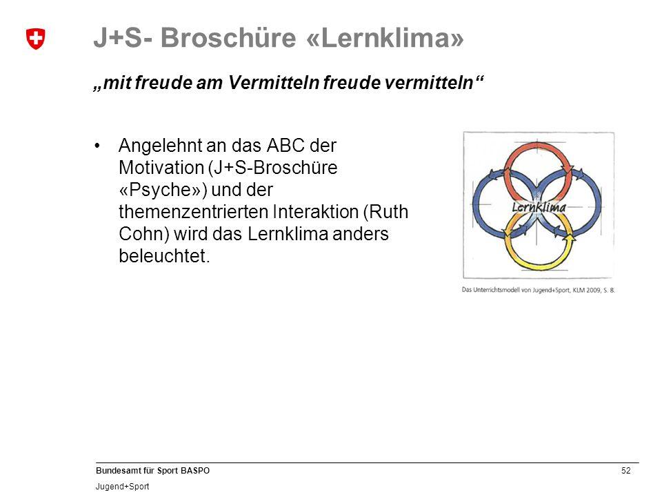 """52 Bundesamt für Sport BASPO Jugend+Sport J+S- Broschüre «Lernklima» """"mit freude am Vermitteln freude vermitteln Angelehnt an das ABC der Motivation (J+S-Broschüre «Psyche») und der themenzentrierten Interaktion (Ruth Cohn) wird das Lernklima anders beleuchtet."""