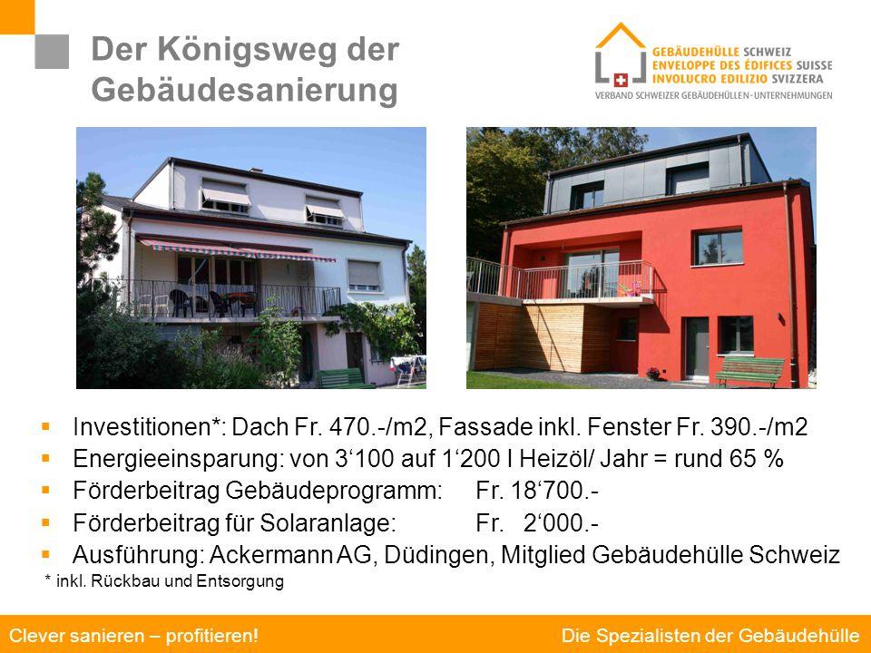 Die Spezialisten der Gebäudehülle Clever sanieren – profitieren! Der Königsweg der Gebäudesanierung Sanierung am Beispiel eines Einfamilienhauses  In