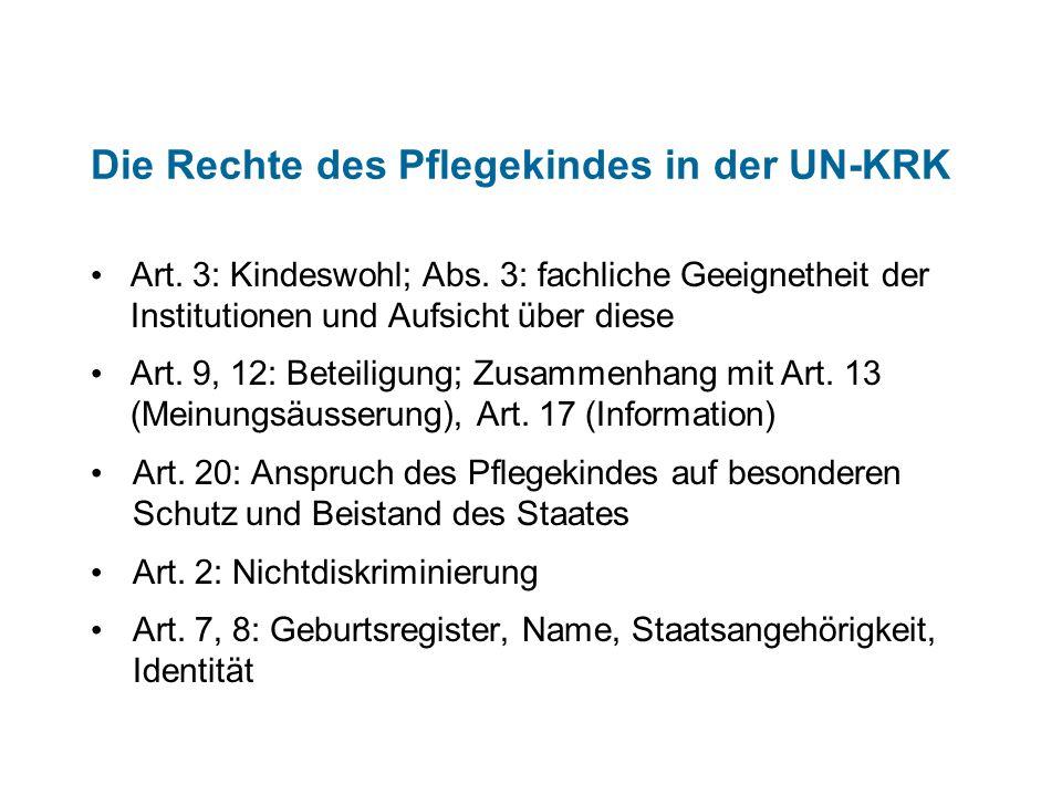 Das Recht des Pflegekindes auf Beteiligung Art.314a ZGBAnhörung Art.