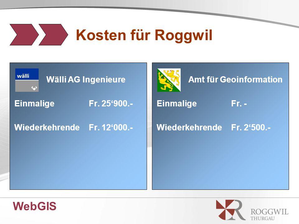 WebGIS Kosten für Roggwil Wälli AG Ingenieure EinmaligeFr.