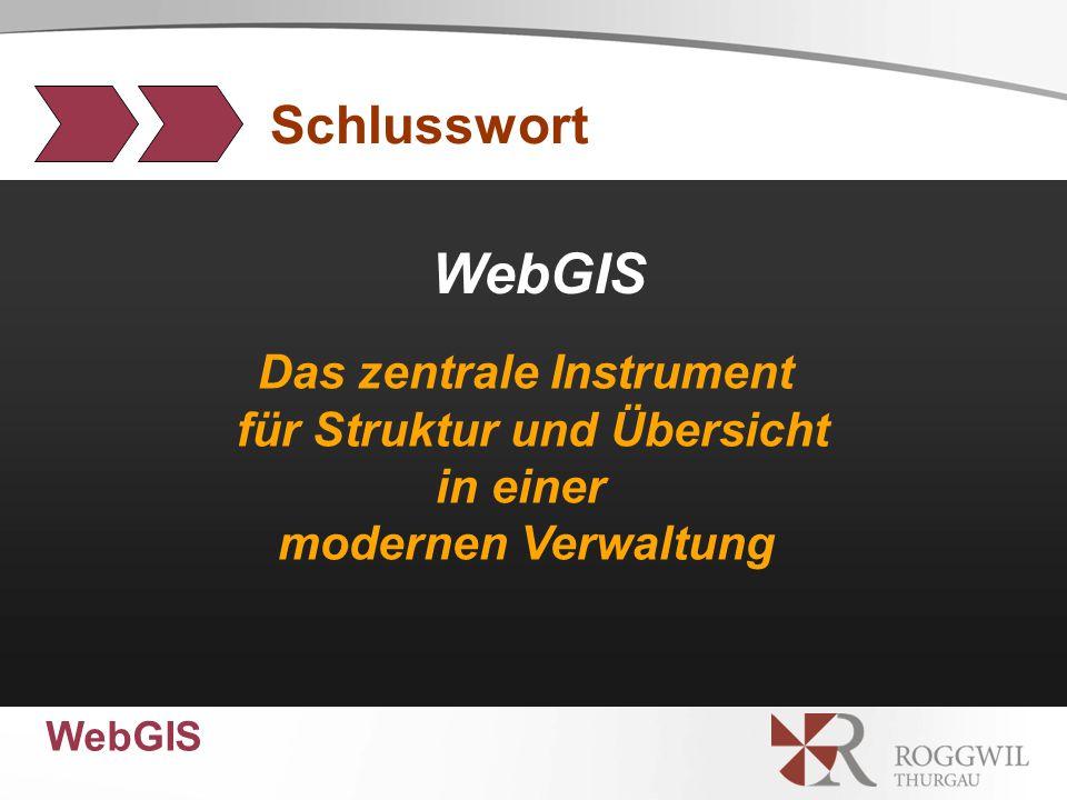 WebGIS Das zentrale Instrument für Struktur und Übersicht in einer modernen Verwaltung Schlusswort