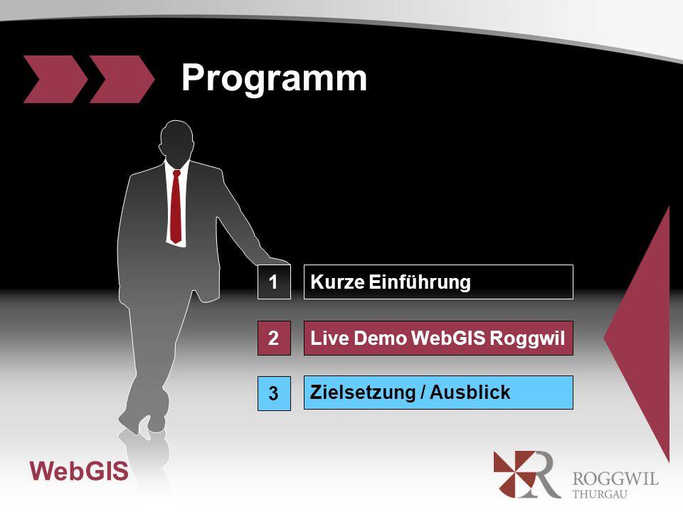WebGIS 1Kurze Einführung Programm 2 3 Live Demo WebGIS Roggwil Zielsetzung / Ausblick WebGIS