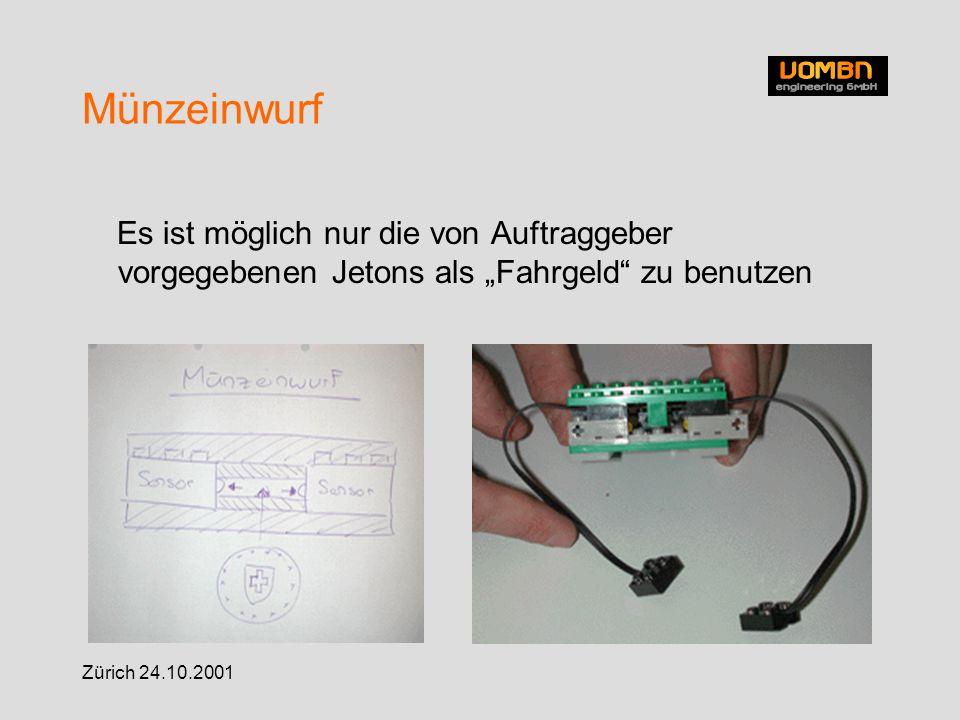 """Zürich 24.10.2001 Münzeinwurf Es ist möglich nur die von Auftraggeber vorgegebenen Jetons als """"Fahrgeld zu benutzen"""
