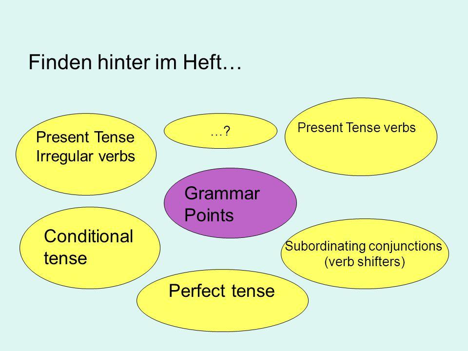 Denk' an deine Ideen… … Grammar Points