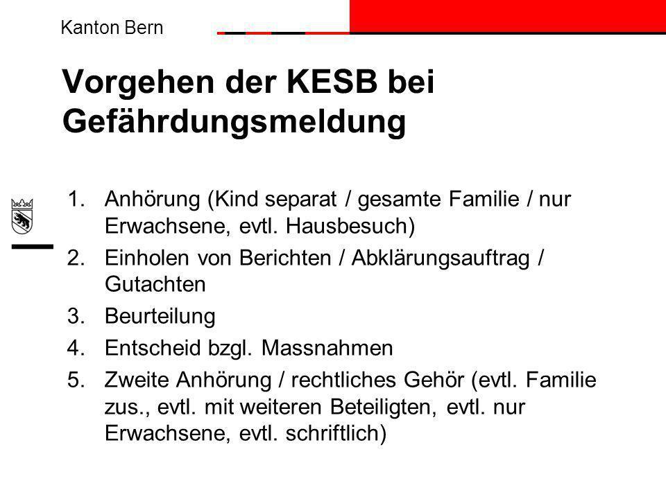 Kanton Bern Vorgehen der KESB bei Gefährdungsmeldung 1.Anhörung (Kind separat / gesamte Familie / nur Erwachsene, evtl.