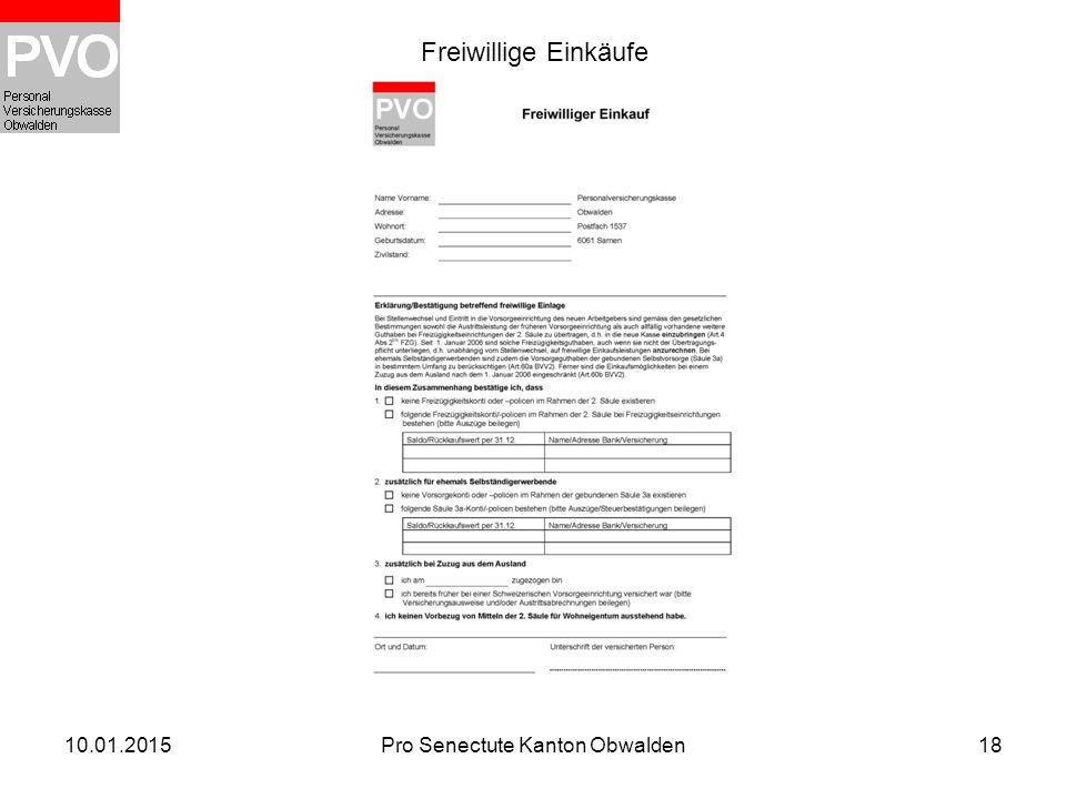 10.01.2015Pro Senectute Kanton Obwalden18 Freiwillige Einkäufe