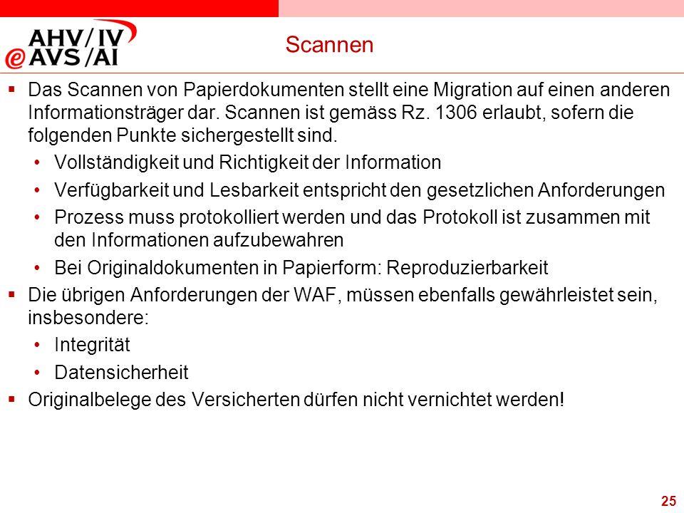 25 Scannen  Das Scannen von Papierdokumenten stellt eine Migration auf einen anderen Informationsträger dar. Scannen ist gemäss Rz. 1306 erlaubt, sof