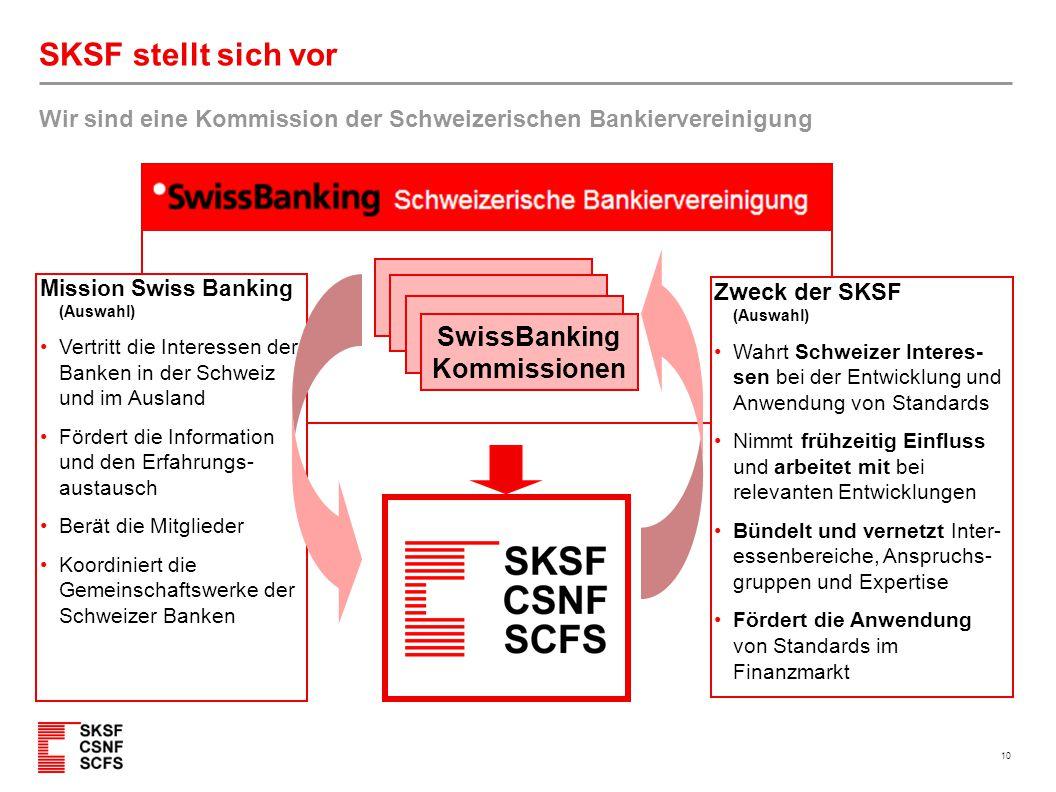 10 SKSF stellt sich vor Wir sind eine Kommission der Schweizerischen Bankiervereinigung SwissBanking Kommissionen Mission Swiss Banking (Auswahl) Vert