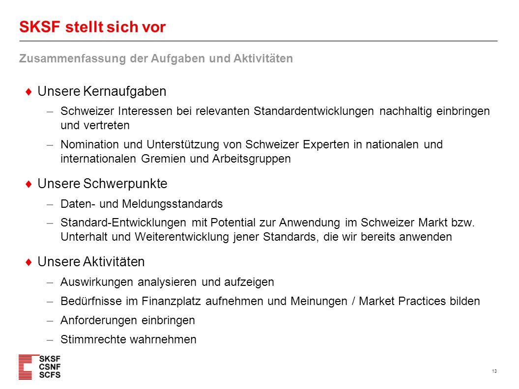 13 SKSF stellt sich vor  Unsere Kernaufgaben – Schweizer Interessen bei relevanten Standardentwicklungen nachhaltig einbringen und vertreten – Nomina
