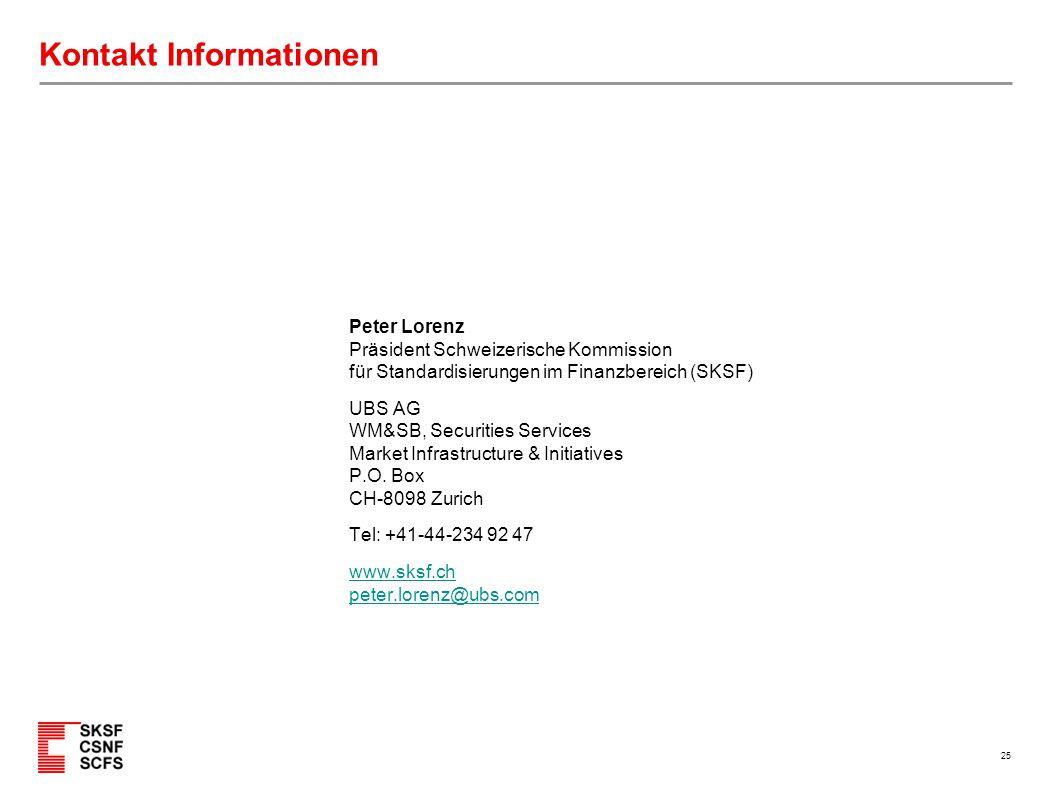 25 Kontakt Informationen Peter Lorenz Präsident Schweizerische Kommission für Standardisierungen im Finanzbereich (SKSF) UBS AG WM&SB, Securities Serv
