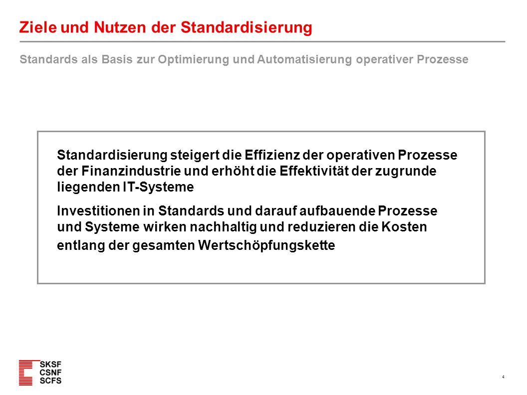 4 Ziele und Nutzen der Standardisierung Standards als Basis zur Optimierung und Automatisierung operativer Prozesse Standardisierung steigert die Effi
