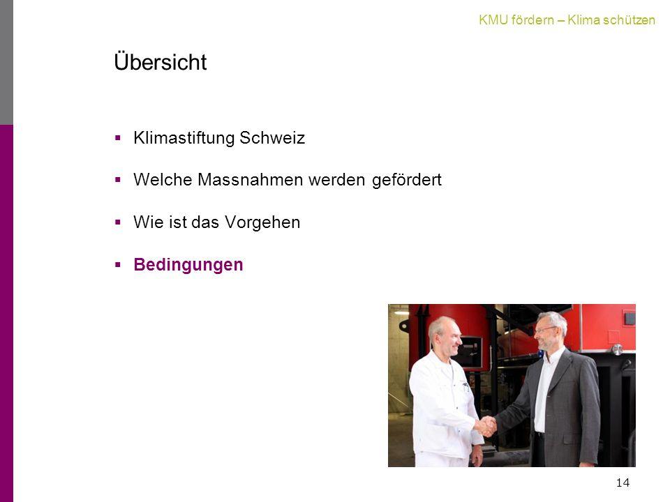 KMU fördern – Klima schützen Übersicht  Klimastiftung Schweiz  Welche Massnahmen werden gefördert  Wie ist das Vorgehen  Bedingungen 14