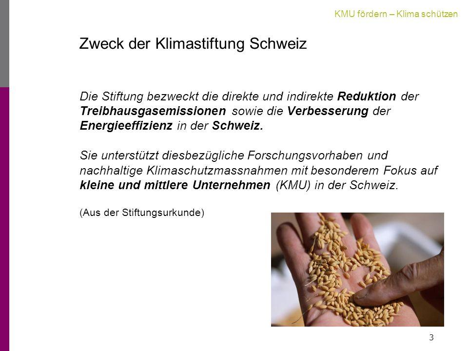 KMU fördern – Klima schützen Zweck der Klimastiftung Schweiz Die Stiftung bezweckt die direkte und indirekte Reduktion der Treibhausgasemissionen sowie die Verbesserung der Energieeffizienz in der Schweiz.