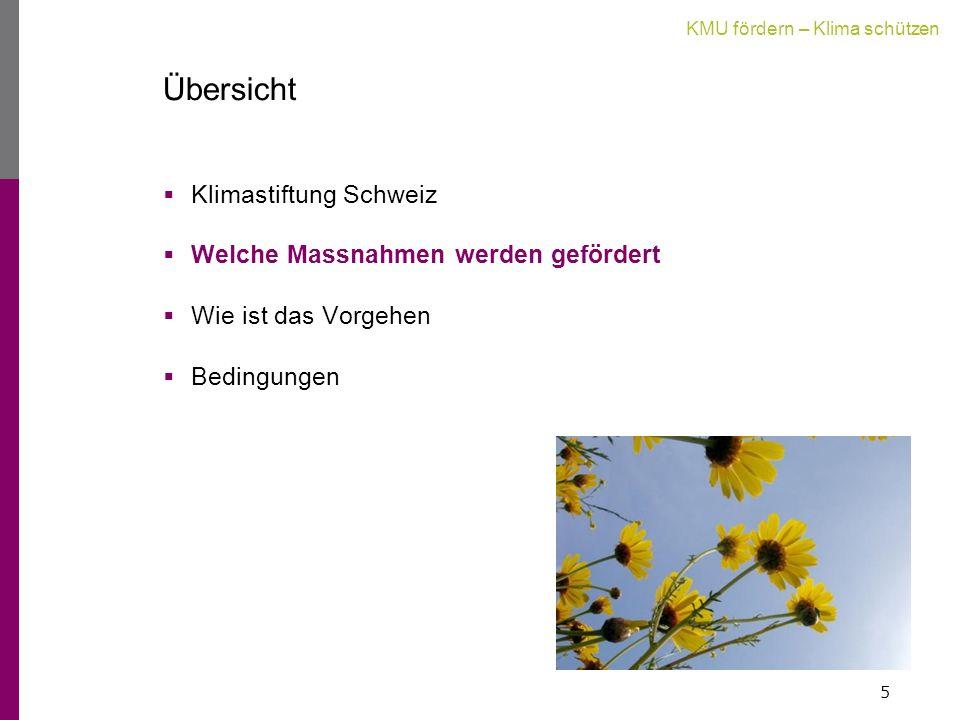 KMU fördern – Klima schützen Übersicht  Klimastiftung Schweiz  Welche Massnahmen werden gefördert  Wie ist das Vorgehen  Bedingungen 5