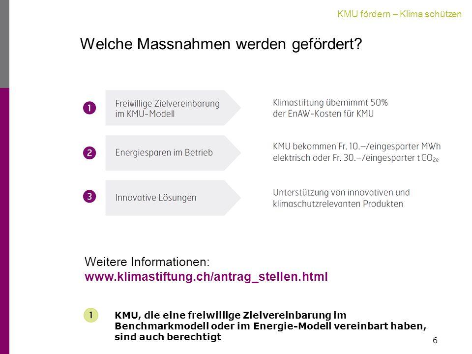 KMU fördern – Klima schützen Welche Massnahmen werden gefördert.