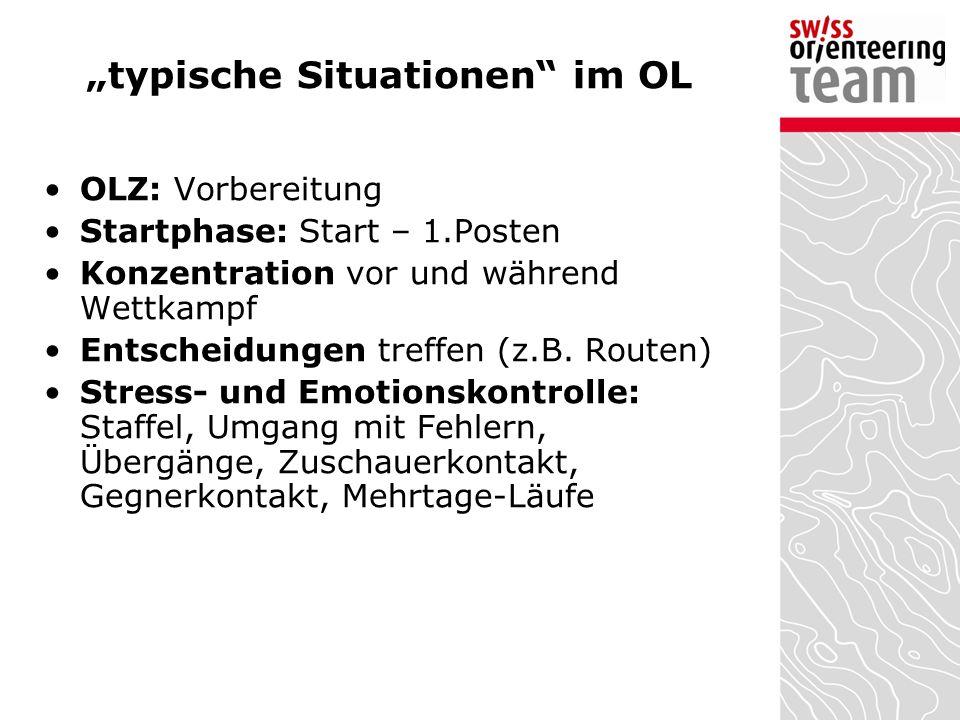 """""""typische Situationen"""" im OL OLZ: Vorbereitung Startphase: Start – 1.Posten Konzentration vor und während Wettkampf Entscheidungen treffen (z.B. Route"""