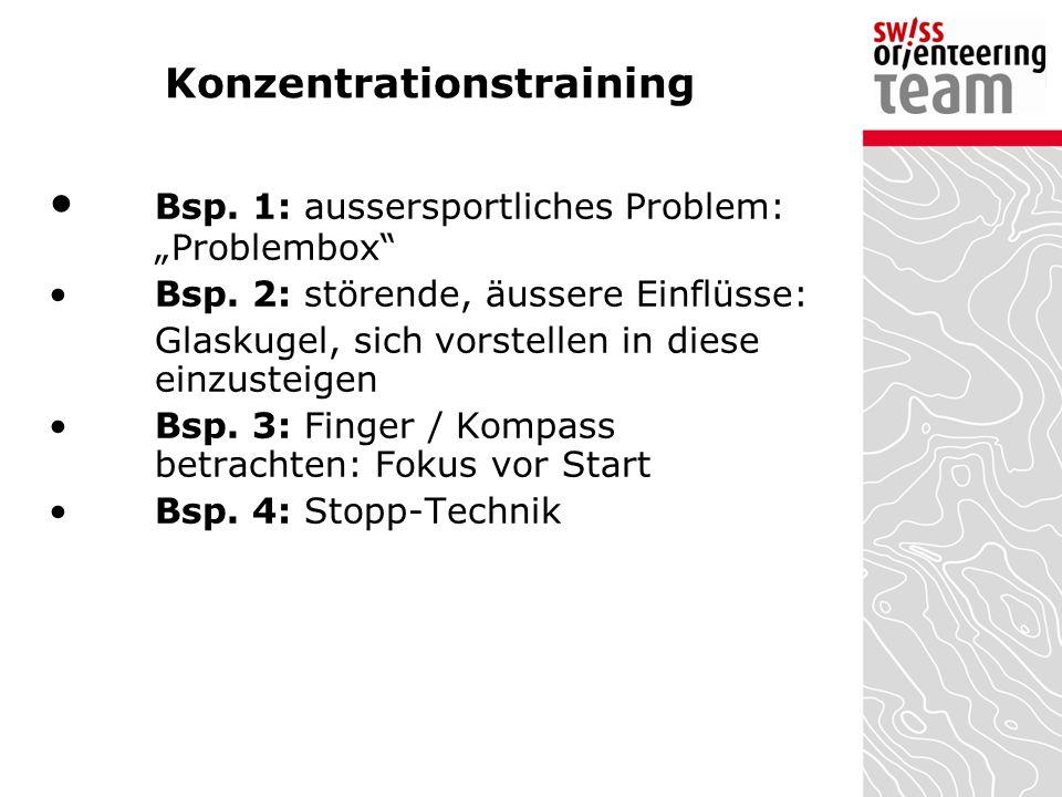 """Konzentrationstraining Bsp. 1: aussersportliches Problem: """"Problembox"""" Bsp. 2: störende, äussere Einflüsse: Glaskugel, sich vorstellen in diese einzus"""