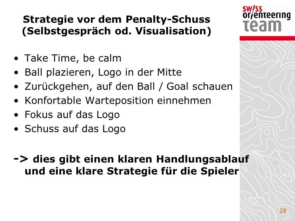 28 Strategie vor dem Penalty-Schuss (Selbstgespräch od. Visualisation) Take Time, be calm Ball plazieren, Logo in der Mitte Zurückgehen, auf den Ball