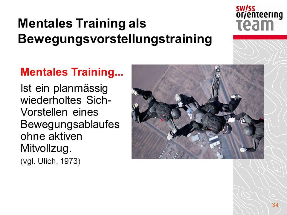 34 Mentales Training als Bewegungsvorstellungstraining Mentales Training... Ist ein planmässig wiederholtes Sich- Vorstellen eines Bewegungsablaufes o