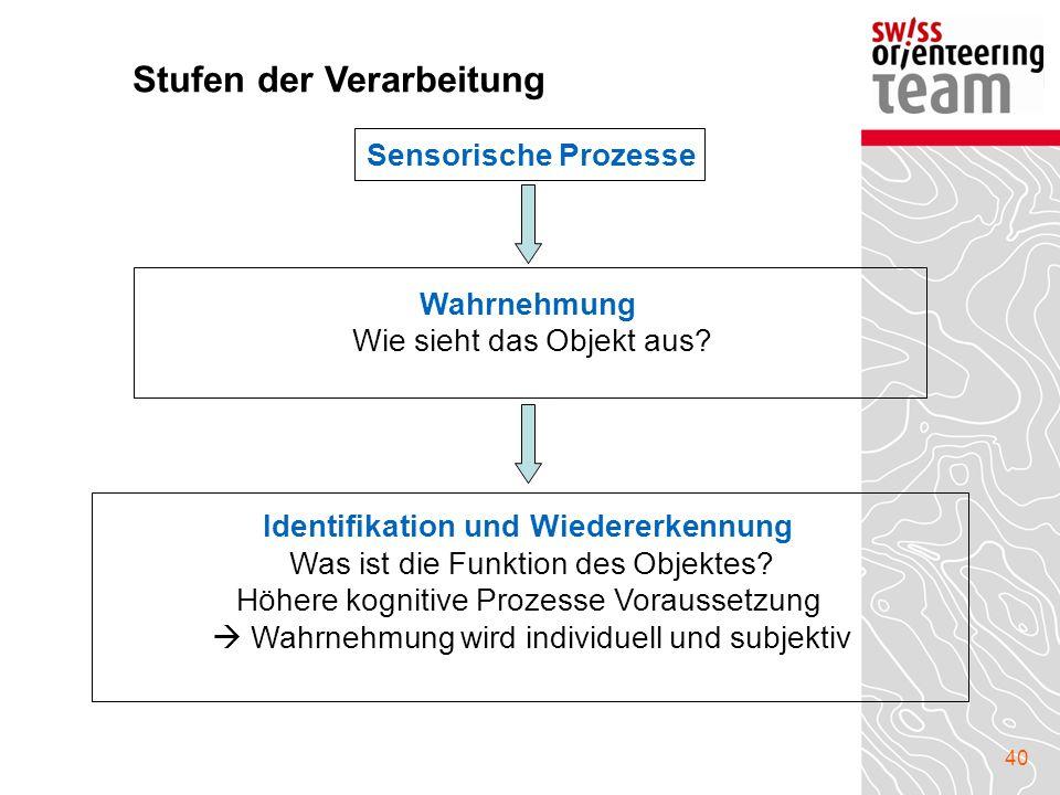 40 Sensorische Prozesse Wahrnehmung Wie sieht das Objekt aus? Identifikation und Wiedererkennung Was ist die Funktion des Objektes? Höhere kognitive P