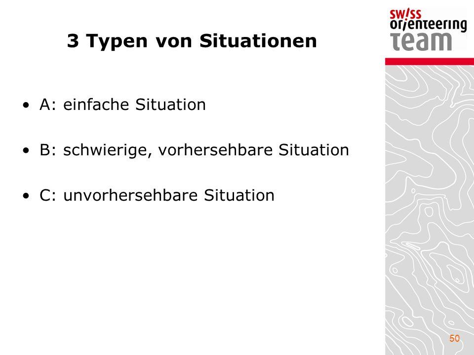 50 3 Typen von Situationen A: einfache Situation B: schwierige, vorhersehbare Situation C: unvorhersehbare Situation