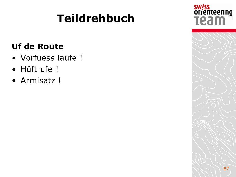 67 Teildrehbuch Uf de Route Vorfuess laufe ! Hüft ufe ! Armisatz !