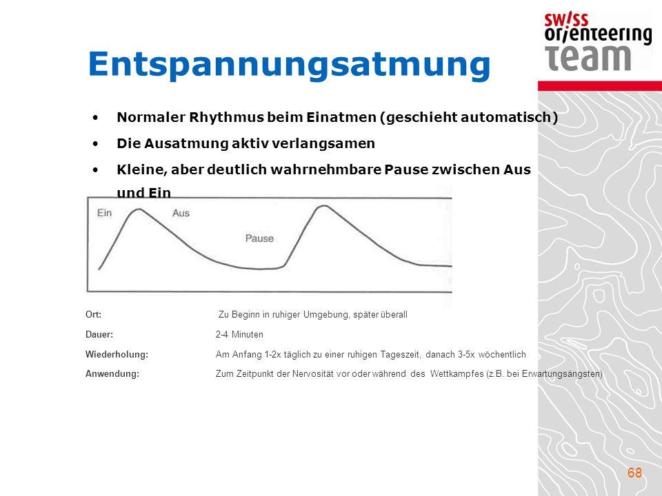 68 Entspannungsatmung Normaler Rhythmus beim Einatmen (geschieht automatisch) Die Ausatmung aktiv verlangsamen Kleine, aber deutlich wahrnehmbare Paus