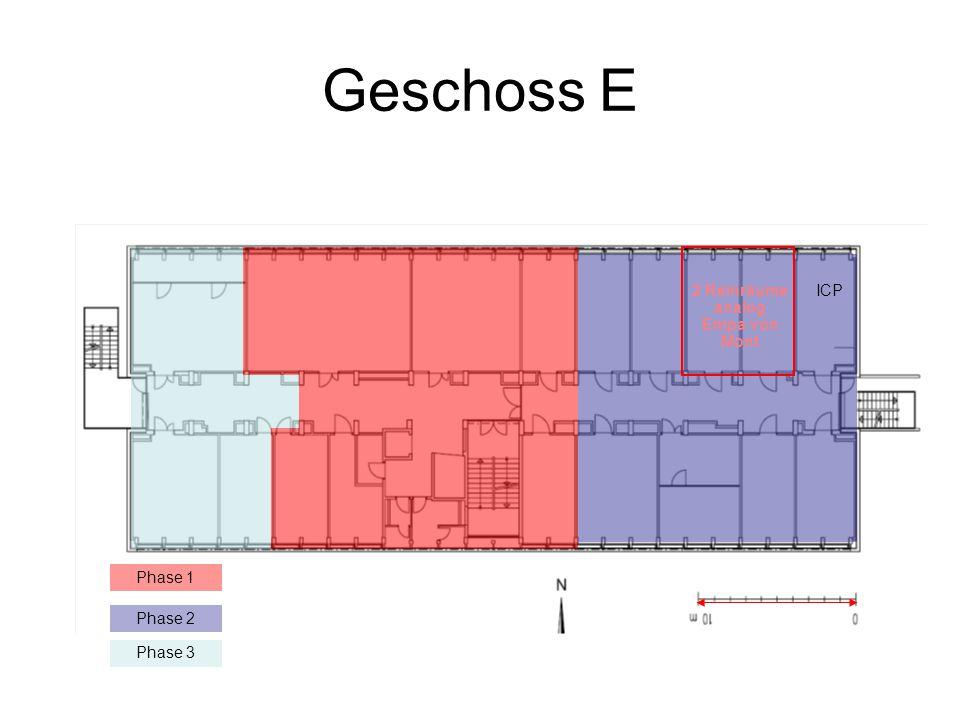 Geschoss E Phase 1 Phase 3 Phase 2 2 Reinräume analog Empa von Mont ICP