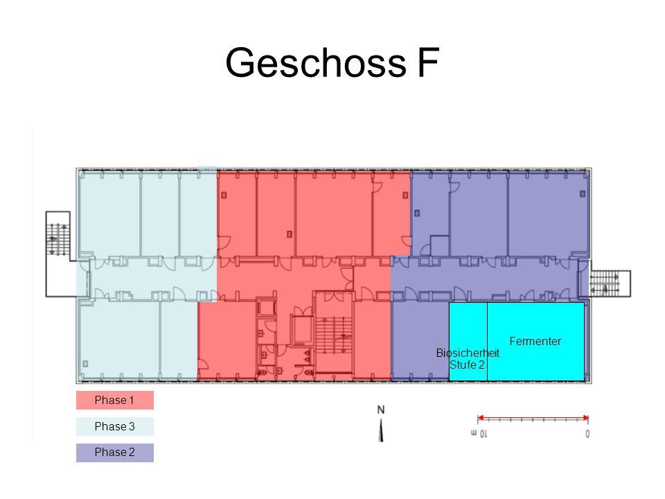 Geschoss F Phase 1 Phase 3 Phase 2 Fermenter Biosicherheit Stufe 2