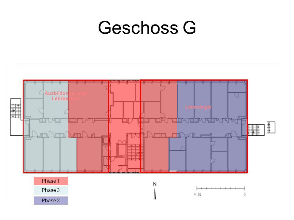 Geschoss G Phase 1 Phase 2 Phase 1 Phase 3 Ausbildungs- und Lehrbereich Limnologie