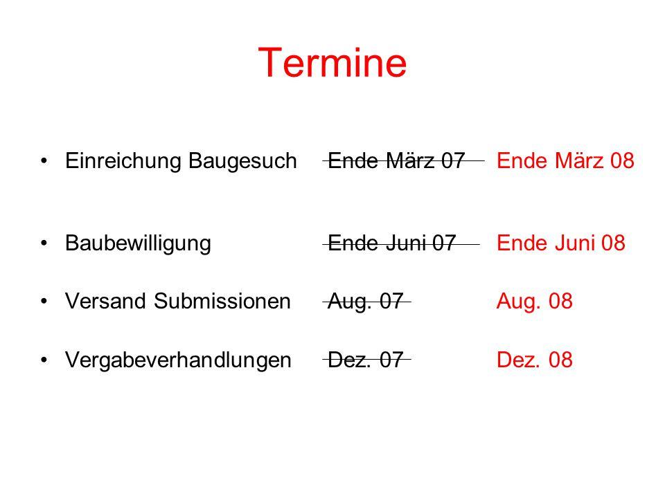 Termine Einreichung BaugesuchEnde März 07Ende März 08 BaubewilligungEnde Juni 07Ende Juni 08 Versand SubmissionenAug.