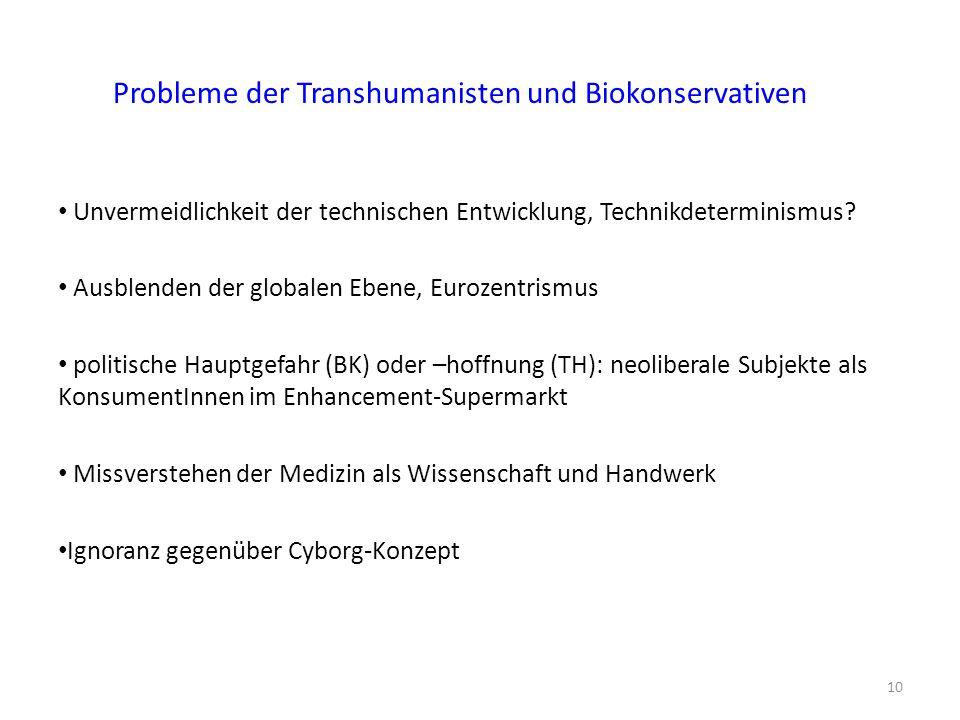Probleme der Transhumanisten und Biokonservativen Unvermeidlichkeit der technischen Entwicklung, Technikdeterminismus.