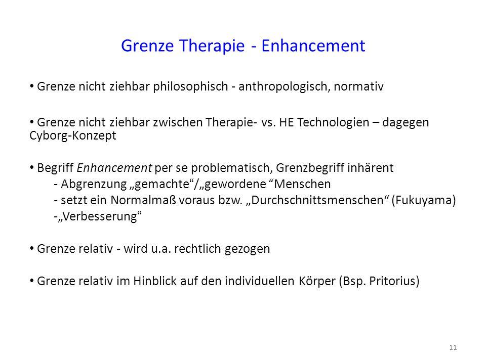 Grenze Therapie - Enhancement Grenze nicht ziehbar philosophisch - anthropologisch, normativ Grenze nicht ziehbar zwischen Therapie- vs. HE Technologi
