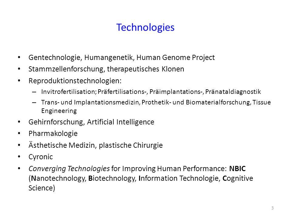 Technologies Gentechnologie, Humangenetik, Human Genome Project Stammzellenforschung, therapeutisches Klonen Reproduktionstechnologien: – Invitroferti