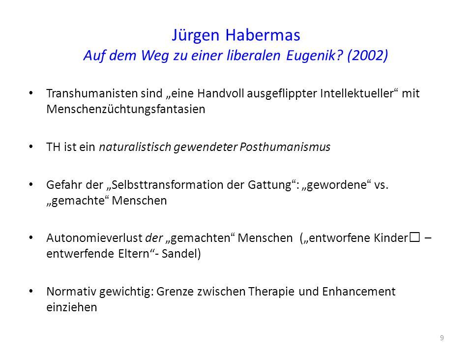 """Jürgen Habermas Auf dem Weg zu einer liberalen Eugenik? (2002) Transhumanisten sind """"eine Handvoll ausgeflippter Intellektueller"""" mit Menschenzüchtung"""