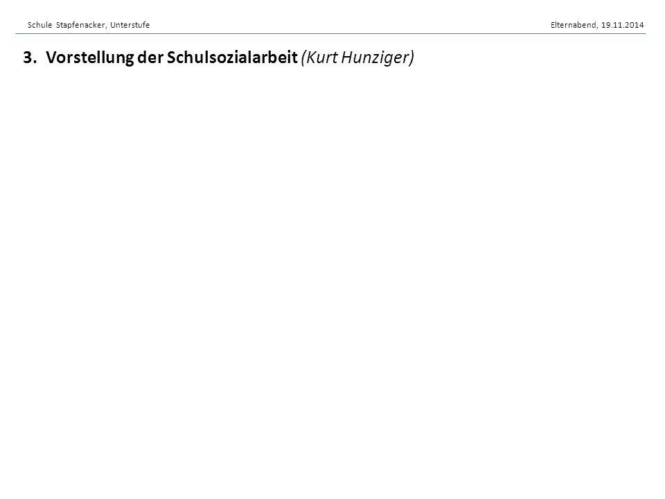 3. Vorstellung der Schulsozialarbeit (Kurt Hunziger) Schule Stapfenacker, UnterstufeElternabend, 19.11.2014