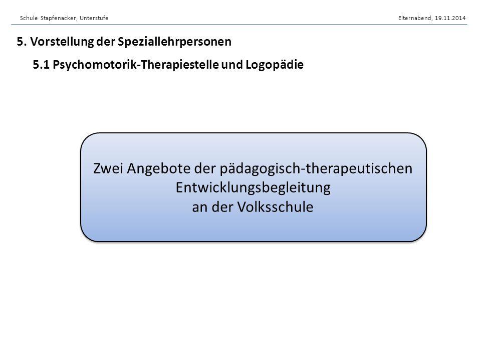 5. Vorstellung der Speziallehrpersonen 5.1 Psychomotorik-Therapiestelle und Logopädie Zwei Angebote der pädagogisch-therapeutischen Entwicklungsbeglei