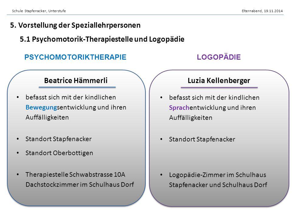 5. Vorstellung der Speziallehrpersonen 5.1 Psychomotorik-Therapiestelle und Logopädie PSYCHOMOTORIKTHERAPIELOGOPÄDIE befasst sich mit der kindlichen B