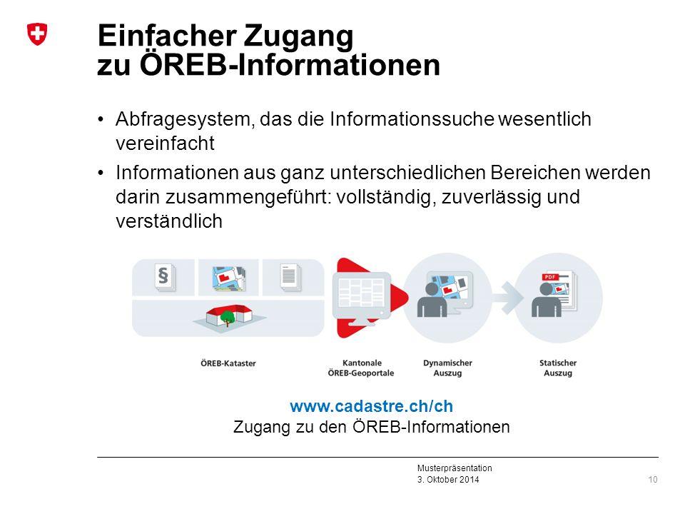 Musterpräsentation 3. Oktober 2014 Einfacher Zugang zu ÖREB-Informationen Abfragesystem, das die Informationssuche wesentlich vereinfacht Informatione