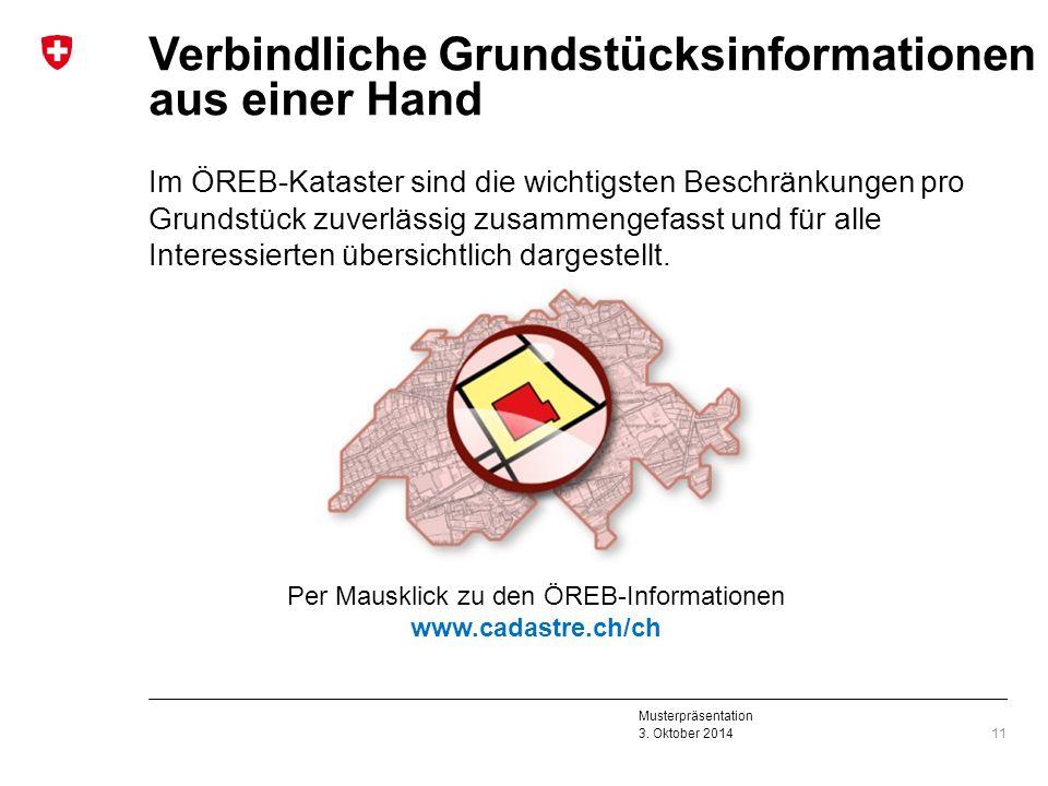 Musterpräsentation 3. Oktober 2014 Verbindliche Grundstücksinformationen aus einer Hand Im ÖREB-Kataster sind die wichtigsten Beschränkungen pro Grund