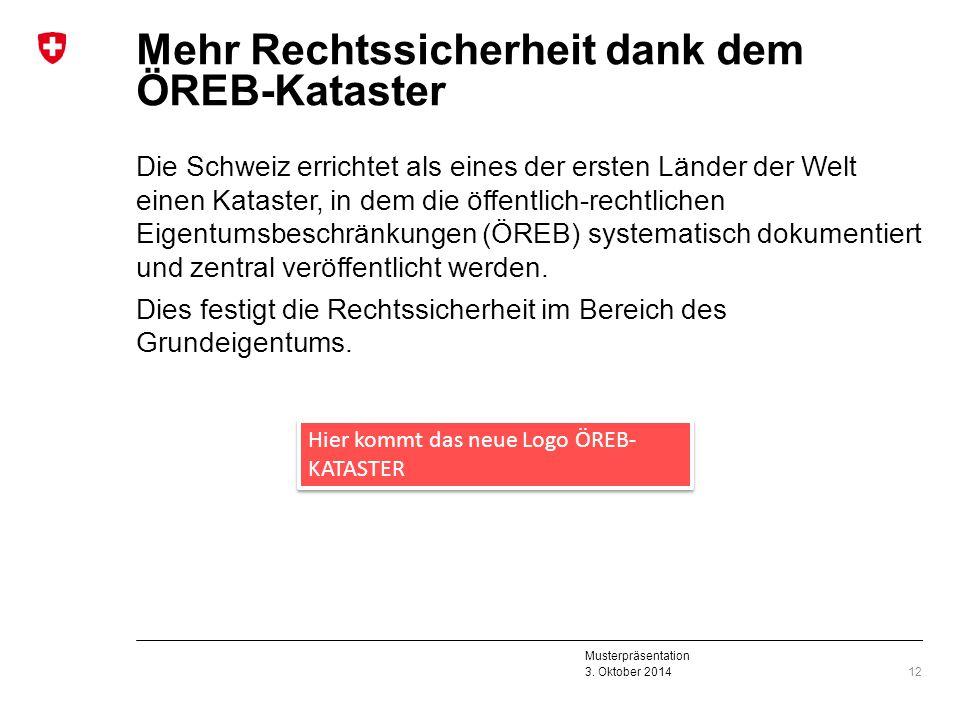Musterpräsentation 3. Oktober 2014 Mehr Rechtssicherheit dank dem ÖREB-Kataster Die Schweiz errichtet als eines der ersten Länder der Welt einen Katas