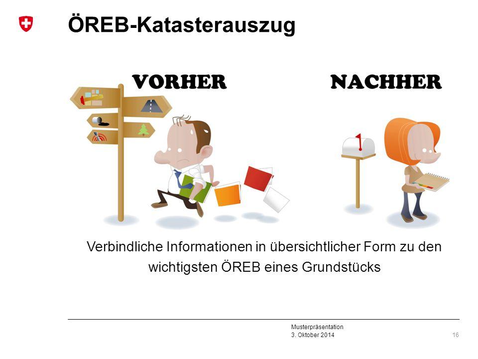 Musterpräsentation 3. Oktober 2014 ÖREB-Katasterauszug 16 Verbindliche Informationen in übersichtlicher Form zu den wichtigsten ÖREB eines Grundstücks