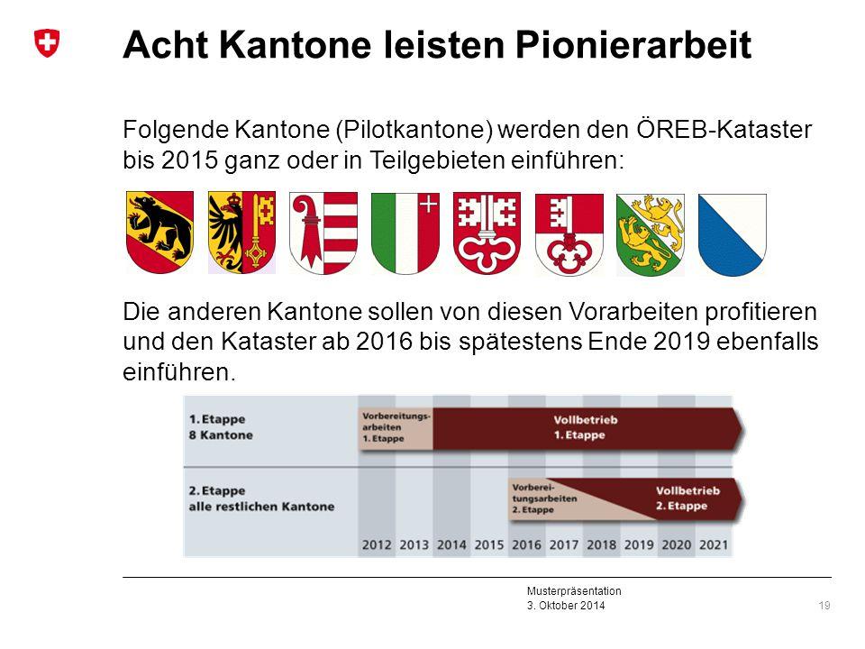 Musterpräsentation 3. Oktober 2014 Acht Kantone leisten Pionierarbeit Folgende Kantone (Pilotkantone) werden den ÖREB-Kataster bis 2015 ganz oder in T