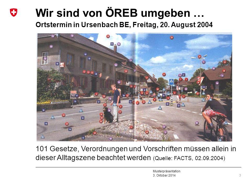 Musterpräsentation 3. Oktober 2014 Wir sind von ÖREB umgeben … Ortstermin in Ursenbach BE, Freitag, 20. August 2004 101 Gesetze, Verordnungen und Vors
